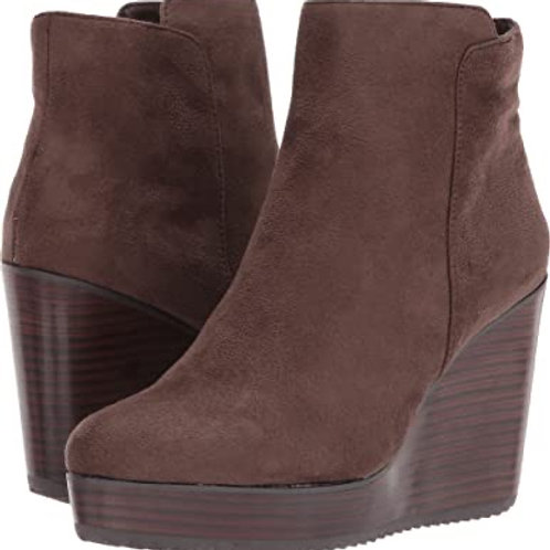 Brown Faux Suede Wedge Bootie