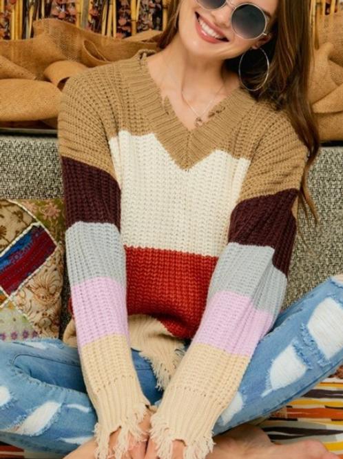 Frayed V-Neck Sweater