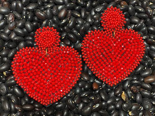 Heart Beaded Earrings - Post