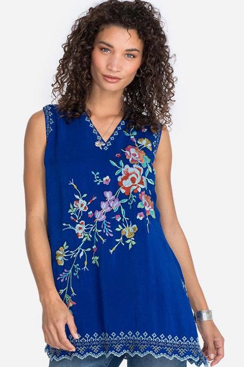 Sleeveless Royal Blue Silk Top
