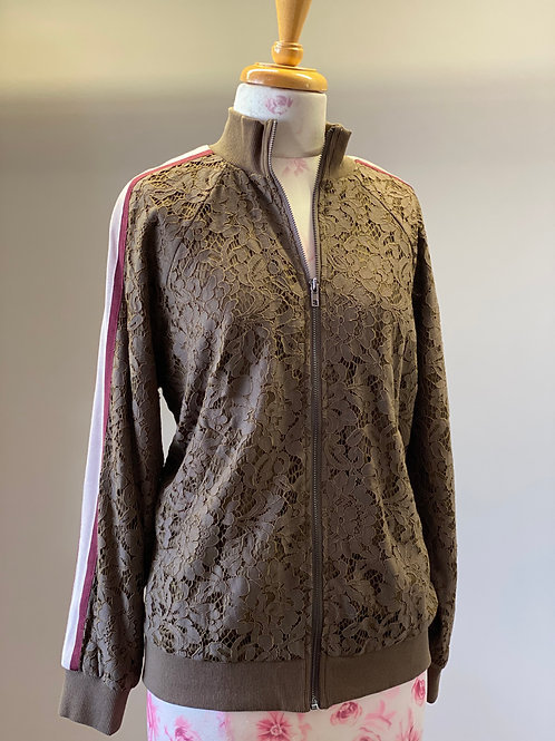 Lace Bommer Jacket Olive with Wine & Cream Stripe