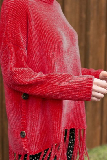 Red Cowl Neck Chenille Sweater with Fringe