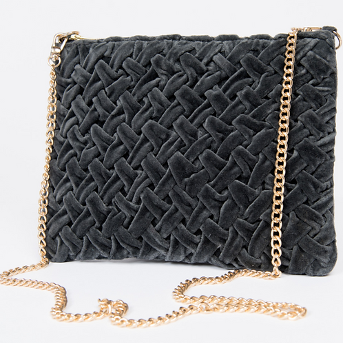 Smocked Cross Body Bag Charcoal By Ivy Jane