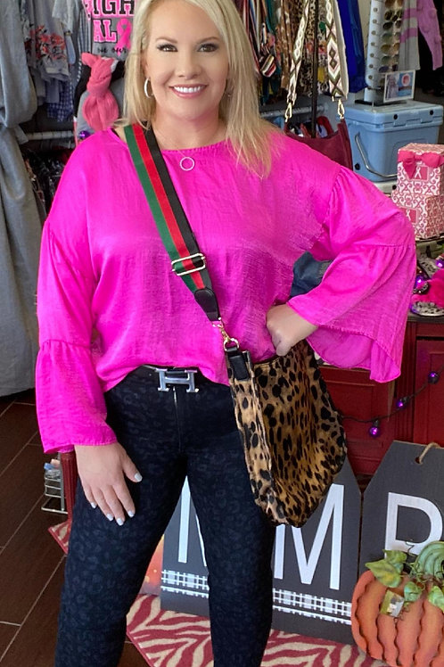 Ivy Jane Hot Pink Top with Bell Sleeves
