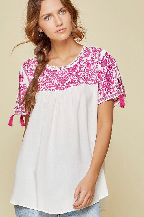 Woven Pink Embroidery Detail Top