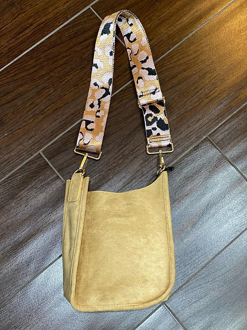 Mini Faux Suede Messenger With Printed Adjustable Web Strap ~ Tan