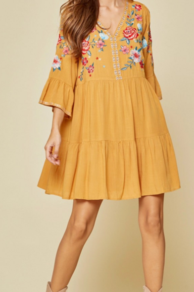 Marigold Embroidery Dress