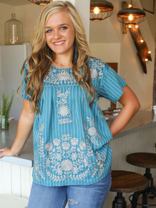 Baby Blue Stripe Embroidery Top