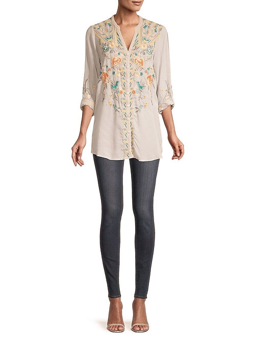 Johnny Was Embroidery White Top