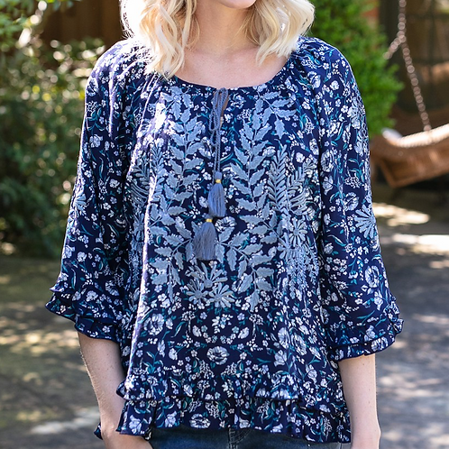Navy Floral Embroidery Top