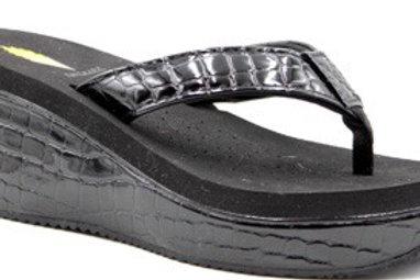 Black Croc Flip Flops