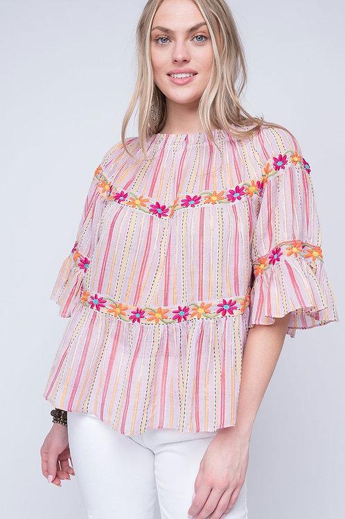 Jane Pink Stripe Floral Top