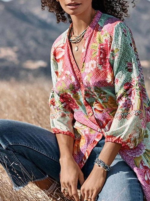 Johnny Was Silk Floral Top