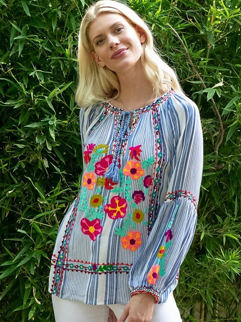 Stripe Floral Embroidery Top