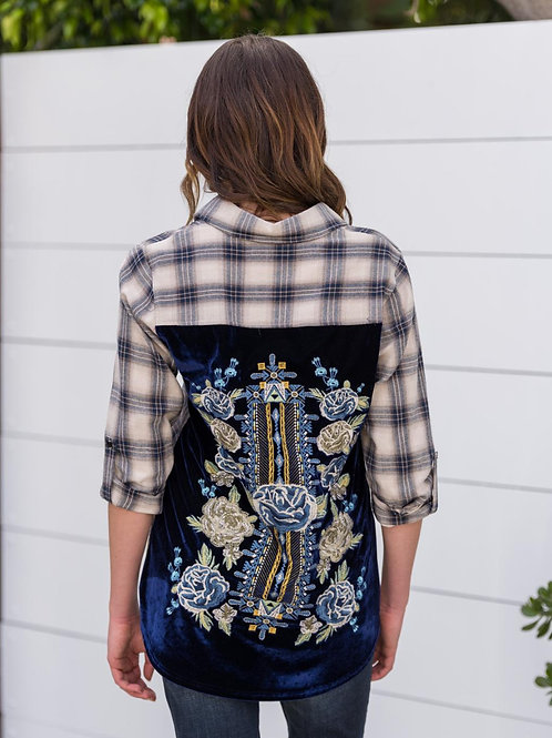 Embroidery Navy & White Top Velvet Backing