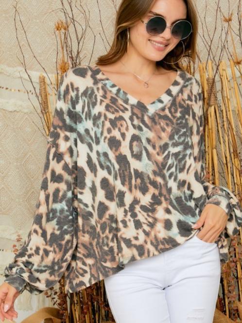Leopard Long Sleeve Top ~ V- Neck