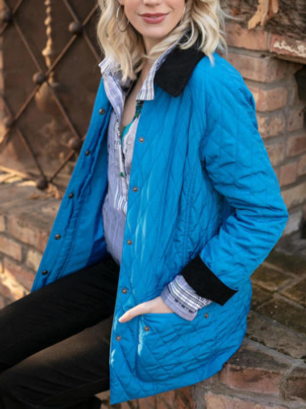 Diamond quilted jacket with courduroy collar & cuffs