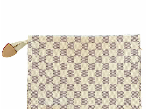 Check Clutch with Zipper - White