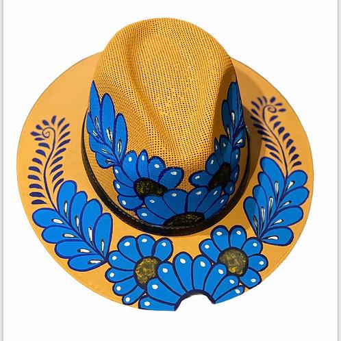 Blue Floral Straw Hat