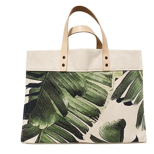 Palm Leaf Large Canvas Market Tote