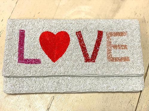 LOVE Beaded Clutch ~ Crossbody