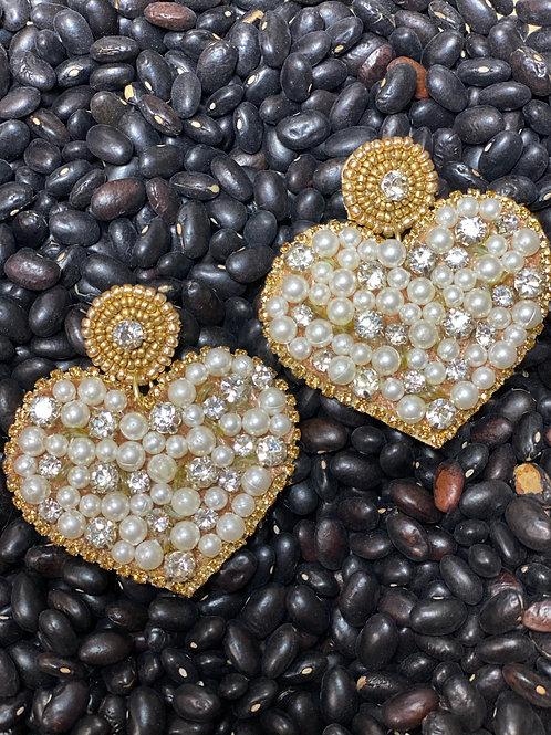 Gold Pearl Earrings - Post