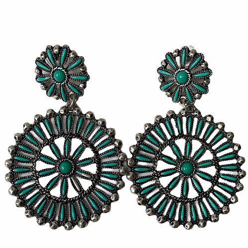 Fan Turquoise ~ Post Earring