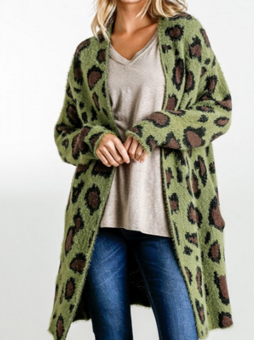 Olive Animal Print ~ Fuzzy Long Open Front Sweater Cardigan