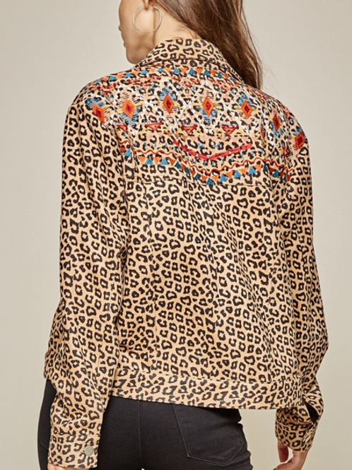 Leopard printed utility jacket