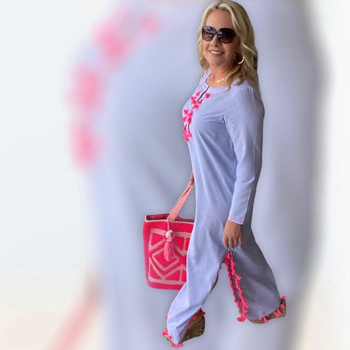 Navy & White Caftan with Pink Tassels