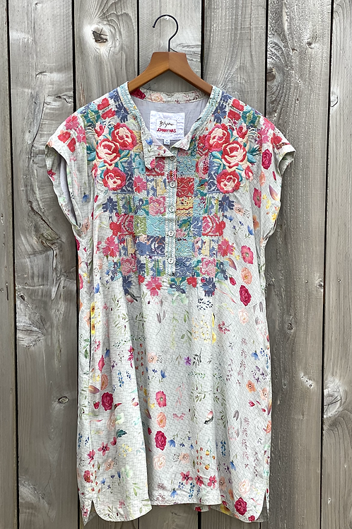 Johnny Was Biya Light Grey Floral with Embroidery Dress