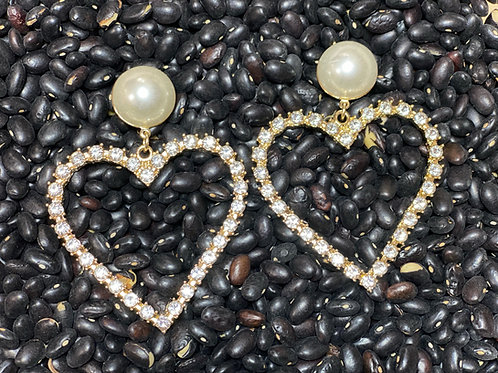 Pearl Heart Rhinestone Earring - Post Gold