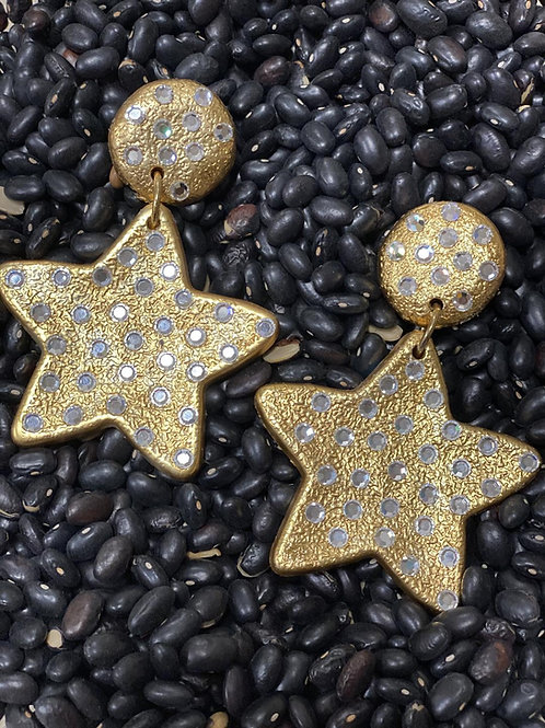 Star Gold CLIP Earrings with Stones