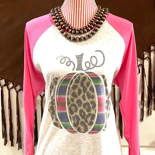 Distressed Pumpkin Patch 3/4 Sleeve T-Shirt ~ Pink & White