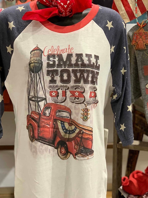 Small Town USA Red Truck 3/4 Sleeve