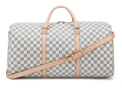 Travel Bag in White Check