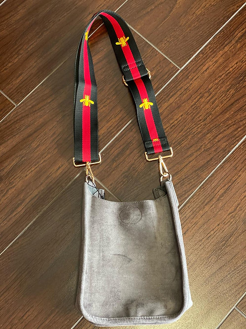 Grey Mini Faux Suede Messenger with Bee Strap