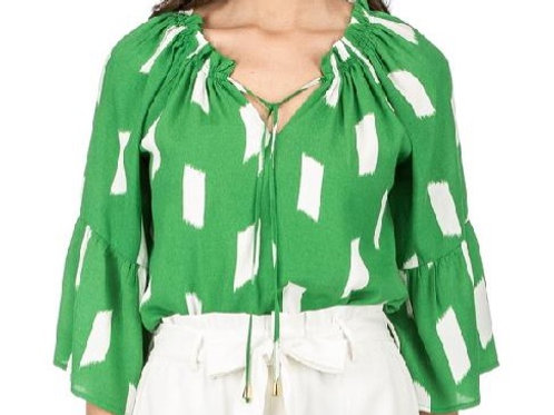 Green Top with Ruffle Belle Sleeve