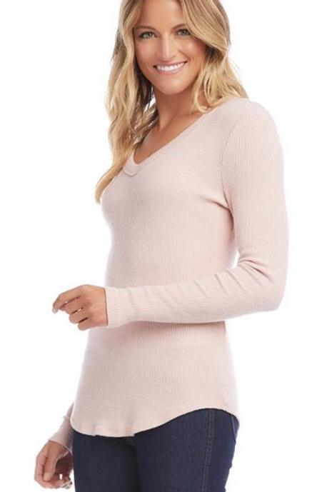 Long Sleeve V-Neck Top Pink