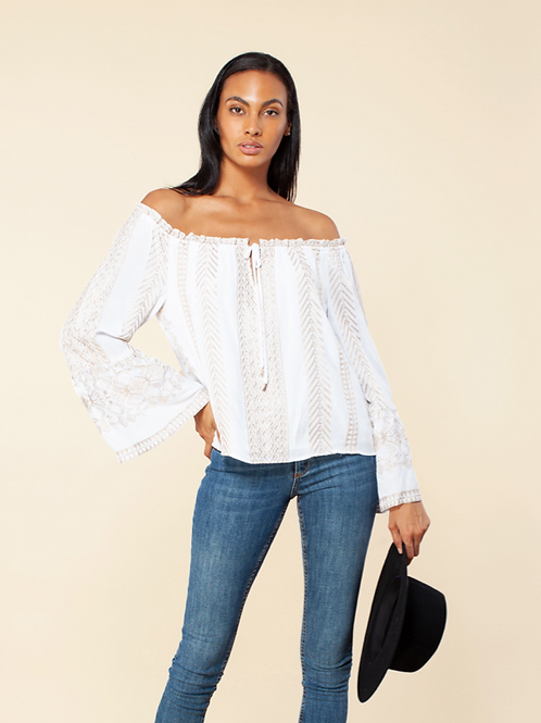 K White Off Shoulder Top with Embroidery