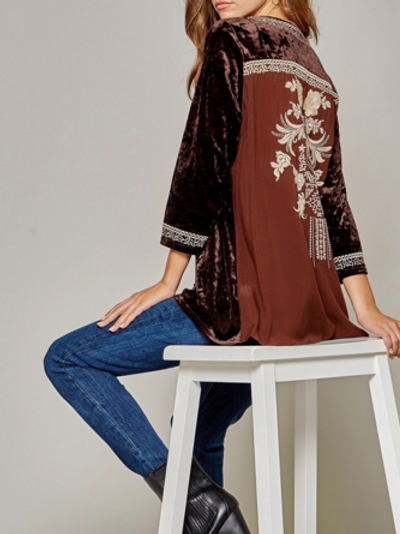 Brown Velvet Top with Embroidery