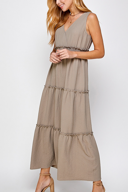 Taupe V-Neck Ruffles Tiered Maxi Dress
