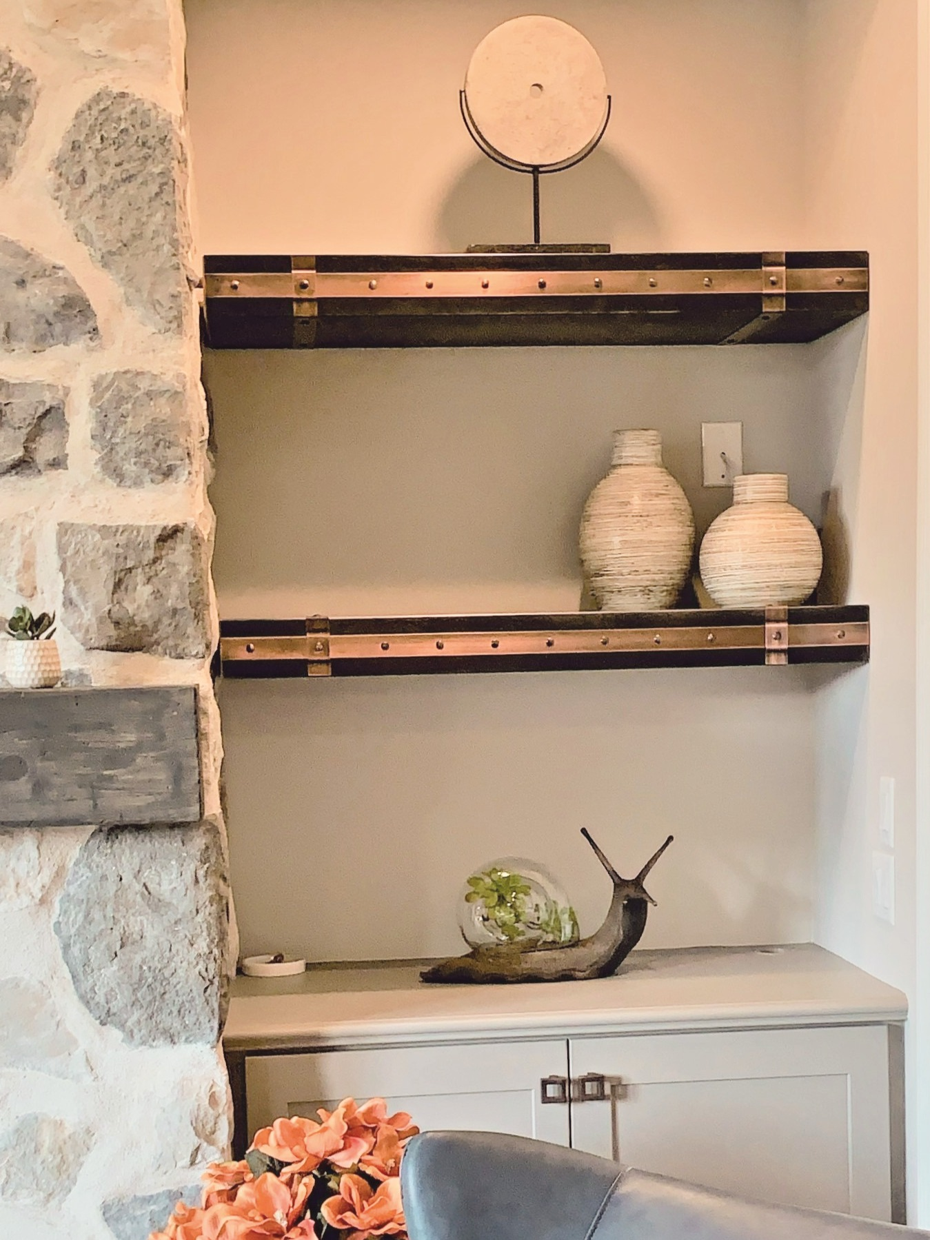 Aged Steel shelves with Copper Strapping