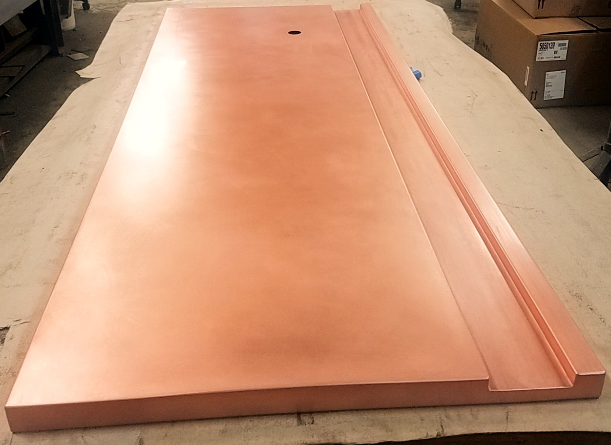 Copper Bar Top With Drink Rail