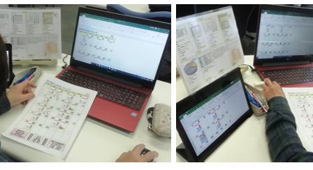 パソコン村 諫早教室 エクセルでごみ出しカレンダー作成中です。