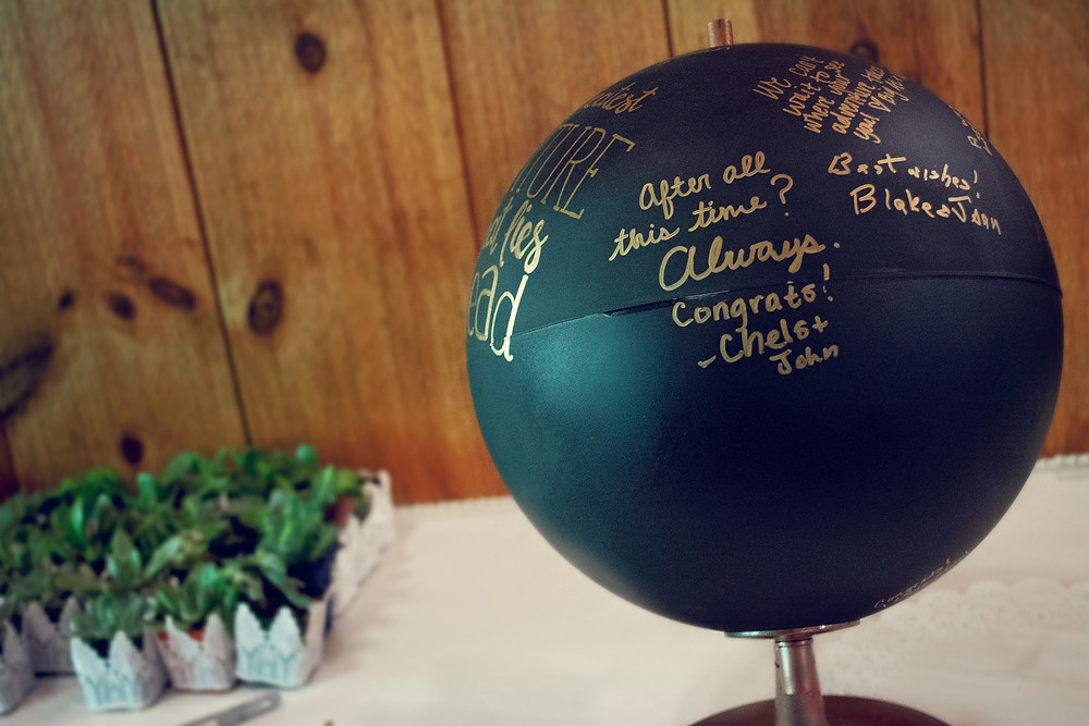Black Globe Guestbook with gold writting