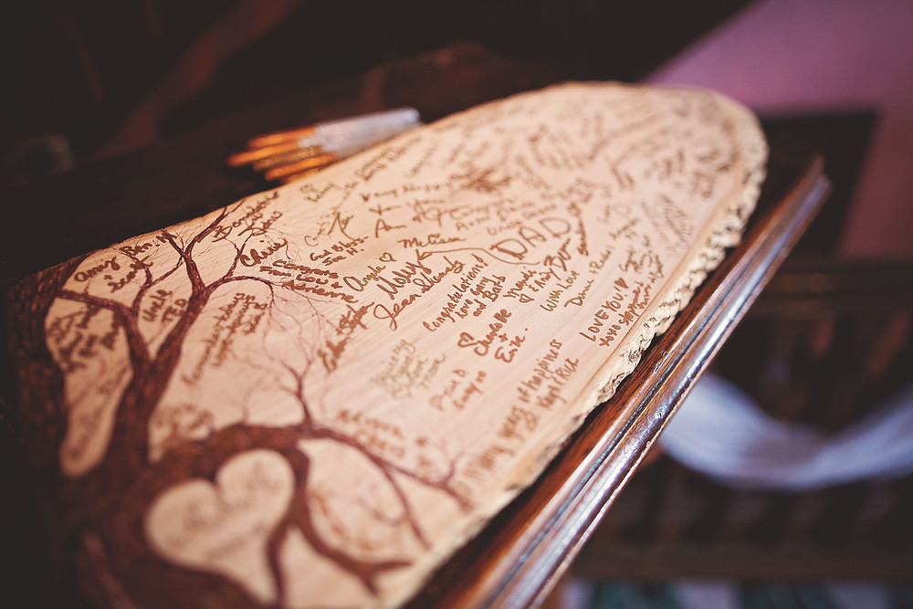 Tree Slab Guestbook With Guest Signatures For Wedding