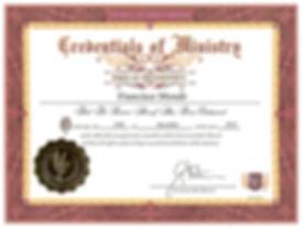 CERTIFICADO OFICIAL DE MISNISTRO FRANCIS