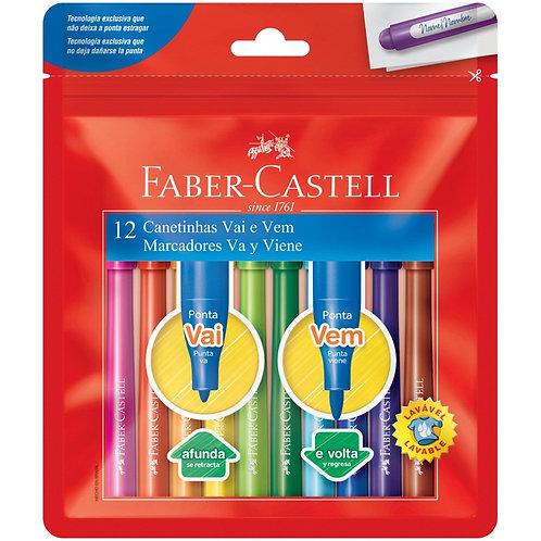 Canetinha Hidrocor Vai e Vem Faber-Castell 12 cores