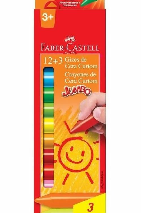 Giz de Cera Courton Faber-Castell com 12+3cores